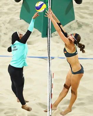 L'image de RIO 2016  du beach volley  entre l'Egypte et l'Allemagne qui fait le buzz. A chacun son interpretation