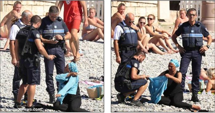 """L'ISLAMOPHOBIE À SON PAROXYSME : Sur une plage de Nice la Gestapo oblige une femme musulmane à enlever son haut jugé """"ostentatoire"""" ! INDIGNEZ-VOUS !"""