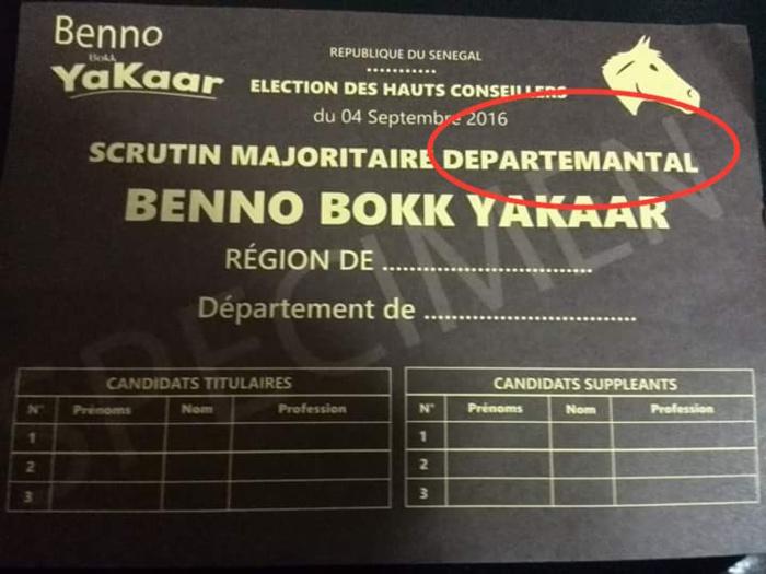 Précisions à propos du bulletin spécimen de Benno Bokk Yakaar