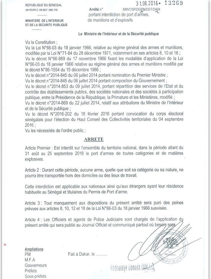 ARRÊTÉ : Le ministère de l'intérieur et de la sécurité publique interdit le port d'arme de toute catégorie durant la période du 31 Août au 25 Septembre 2016 (DOCUMENT)