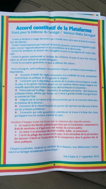 Tournant politique : L'opposition vient de signer l'Accord constitutif de la plateforme du Front pour la défense du Sénégal (Wallu Sénégal)