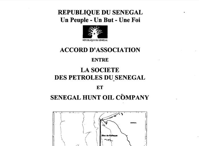 ACCORD D'ASSOCIATION ENTRE LA SOCIETE DES PETROLES DU DOCUMENT : SENEGAL ET SENEGAL HUNT OIL COMPAGNY - RUFISQUE ET SANGOMAR OFFSHORE PROFOND