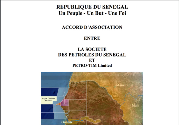ACCORD D'ASSOCIATION ENTRE LA SOCIETE DES PETROLES DU SENEGAL ET PETRO-TIM Limited - CAYAR OFFSHORE PROFOND