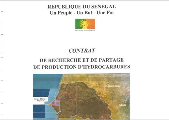 Contrat de Recherche et de partage de production d'hydrocarbures CAYAR OFFSHORE PROFOND
