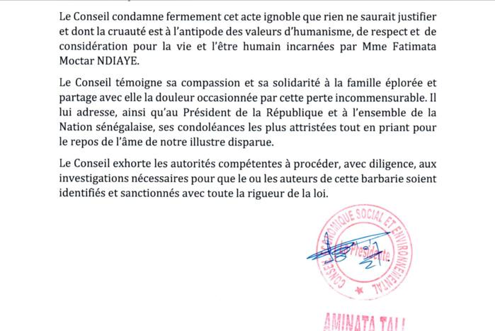 Meurtre de la conseillère Fatoumata Ndiaye : La Présidente du CESE demande une sanction du coupable avec toutes les rigueurs de la loi
