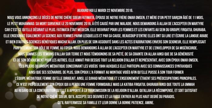 La brigade de jihadistes français d'Omar Omsen annonce la mort d'une de ses épouses en Syrie des suites d'une maladie