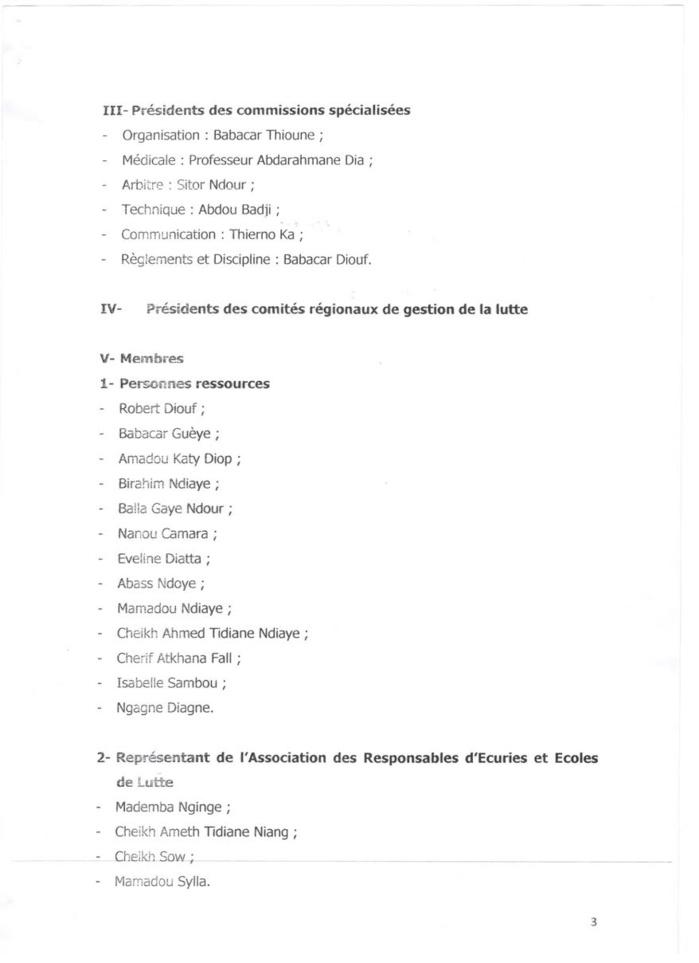ARRETE DU MINISTERE DES SPORTS RECONDUISANT LE CNG DE LUTTE POUR 2 ANS