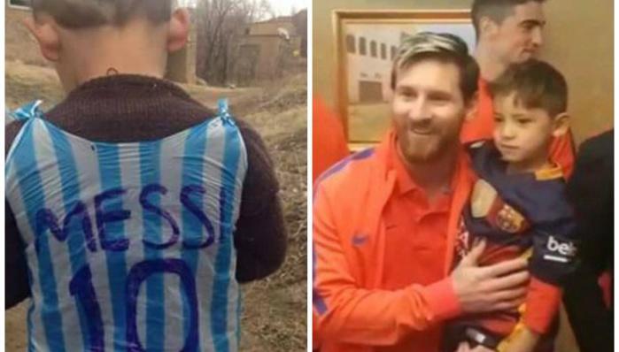 Messi a rencontré l'enfant afghan au sac plastique