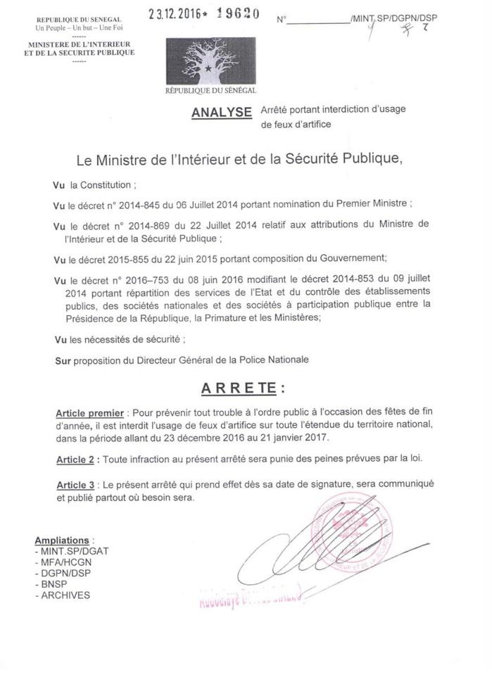 FÊTE DE FIN D'ANNÉE : Le ministère de l'Intérieur et de la Sécurité Publique interdit l'usage de feux d'artifice