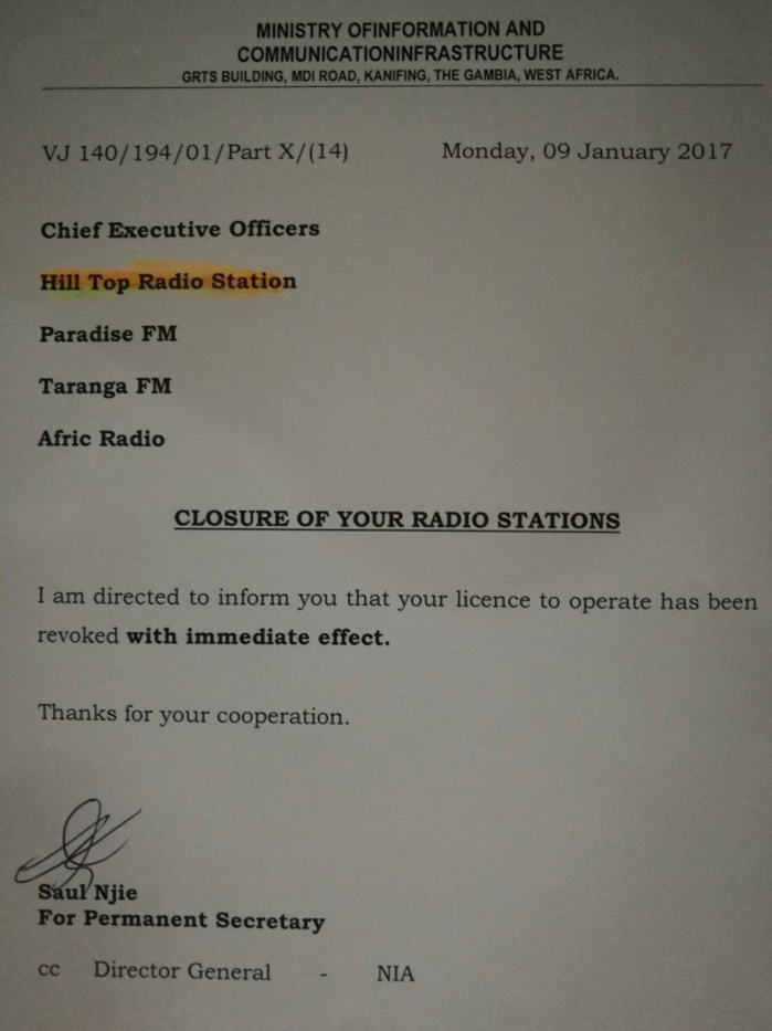 GAMBIE : Yaya Jammeh retire la licence de plusieurs radios