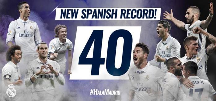 Record : 40ème match sans défaite pour le Real Madrid