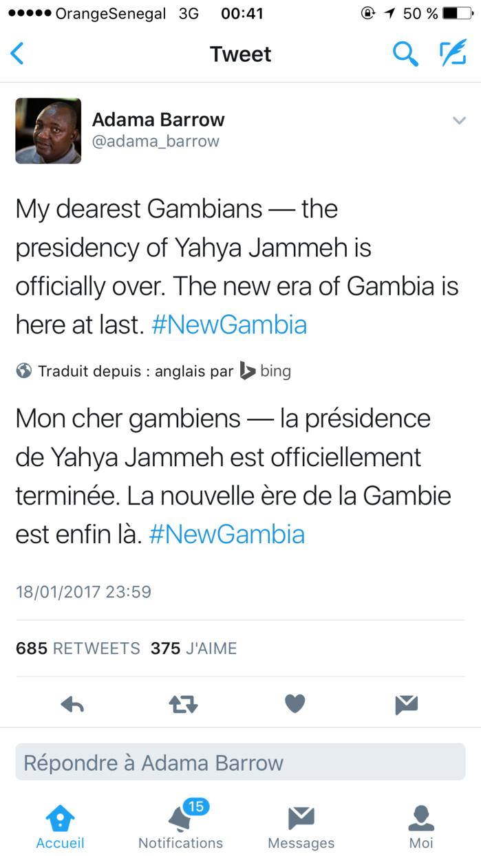 GAMBIE : Le président Barrow annonce la fin du règne de Jammeh