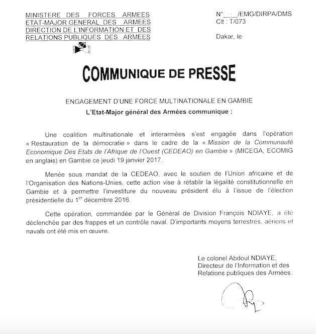ENGAGEMENT DES FORCES MULTINATIONALES EN GAMBIE : L'Etat Major général des Armées précise...