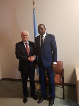 Mankeur Ndiaye avec l'ambassadeur russe aux Nations Unies Vitaly décédé lundi à New York
