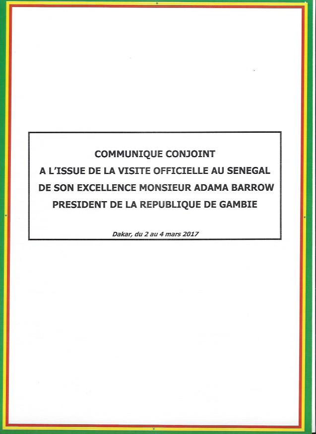 Communiqué conjoint à l'issue de la visite officielle au Sénégal du président Gambien Adama Barrow