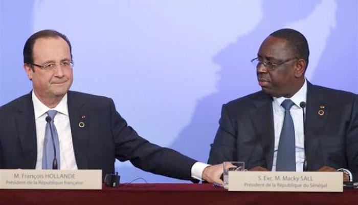 """PARIS : Hollande et Sall saluent """"la mise en œuvre satisfaisante"""" des décisions prises lors de la visite d'Etat en décembre (Elysée)"""