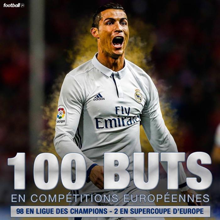Cristiano Ronaldo devient le premier joueur de l'histoire à atteindre la barre des 100 buts en compétitions européennes !