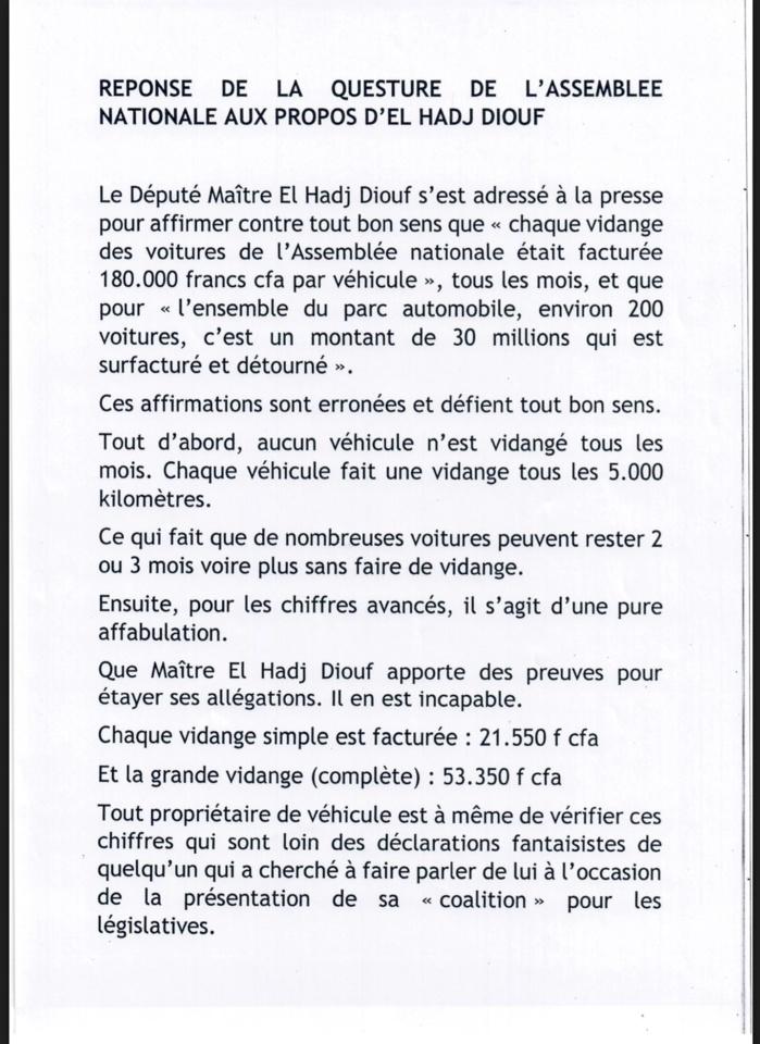 ATTAQUE CONTRE L'ASSEMBLÉE NATIONALE : Awa Niang, 2ème Questeur de l'Assemblée nationale répond à Me El hadji Diouf (DOCUMENT)