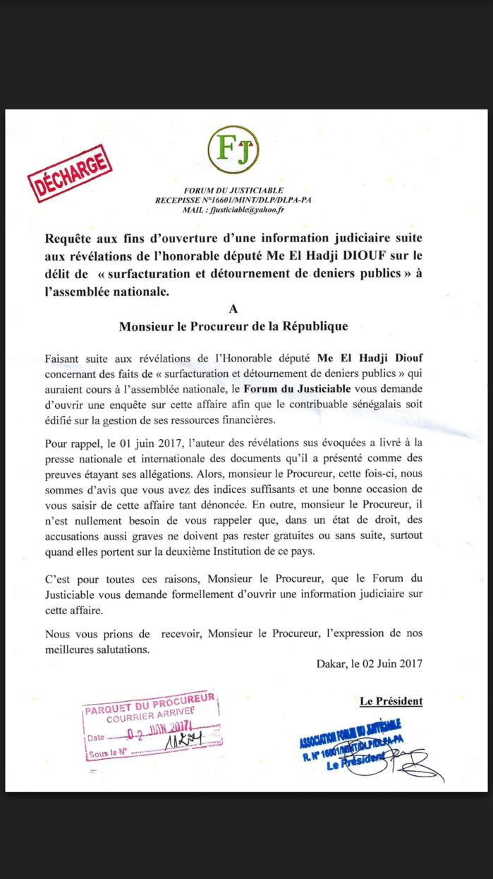 Fraude à l'Assemblée nationale : Le Forum du justiciable demande au procureur l'ouverture d'une enquête