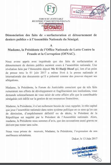 Surfacturation et détournement de deniers publics à l'Assemblée : Le forum du justiciable saisit l'OFNAC