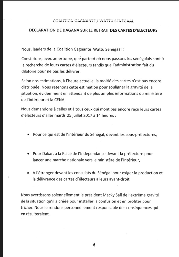 DAGANA : Déclaration de Abdoulaye Wade sur le retrait des cartes (DOCUMENT)