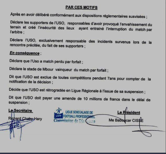 Drame de Demba Diop : Exclue pour 7 ans de toute compétition, l'USO est condamnée à payer 10 millions