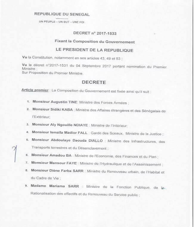 OFFICIEL : La composition du nouveau Gouvernement du Sénégal (DOCUMENTS)