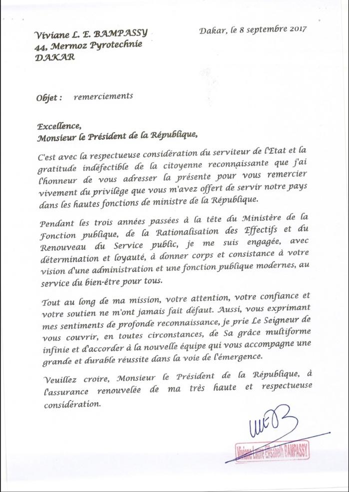 Lettre de remerciement de Mme Viviane Bampassy au Président de la République (DOCUMENT)