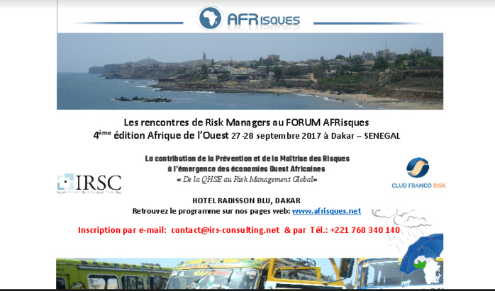Les rencontres de Risk Managers au FORUM AFRisques 4 ème édition Afrique de l'Ouest 27-28 septembre 2017 à Dakar – SENEGAL