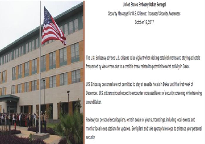 MENACE TERRORISTE : Les USA conseillent à leurs ressortissants à Dakar d'éviter les hôtels en bord de mer de la capitale