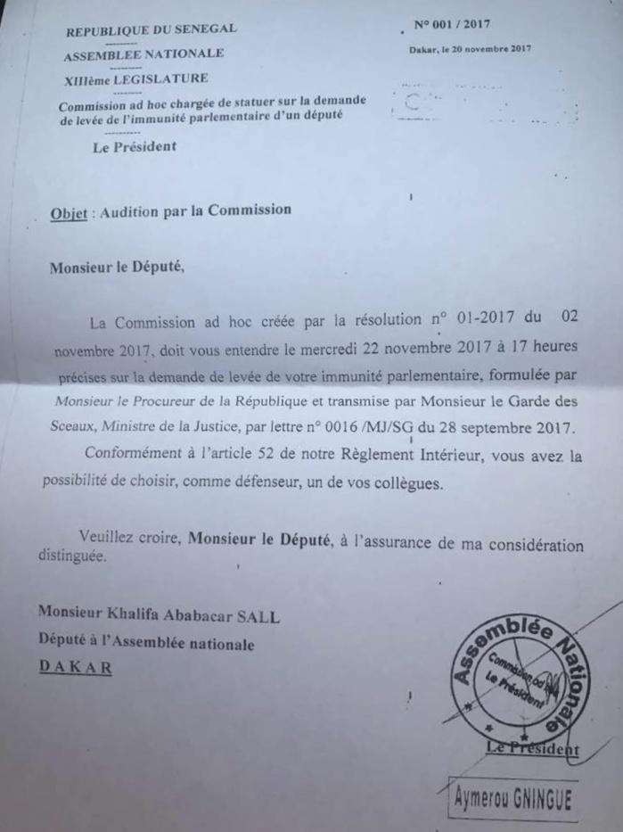 DOCUMENT :  La lettre de la commission adhoc de l'Assemblée nationale au député Khalifa Ababacar Sall