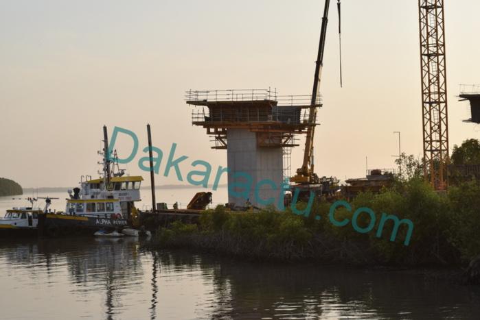 Traversée de la Gambie : Les travaux du pont entre le Sénégal et la Gambie en très bon état d'avancement