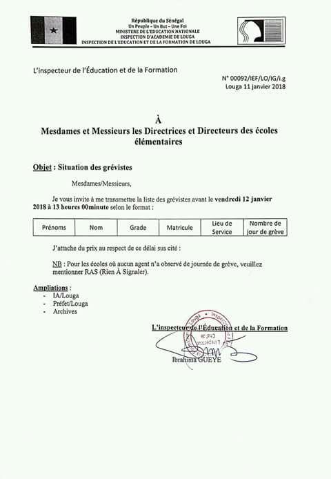 Grève des enseignants au Sénégal : Le Gouvernement réclame les noms et matricules des protestataires