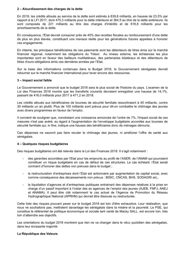 Le Mouvement «la République des valeurs» fait part de la situation du budget 2018 du Sénégal : INQUIÉTUDES ET RISQUES (DOCUMENT)