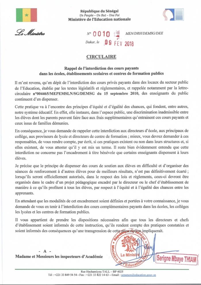 Ministère de l'éducation nationale : interdiction des cours payants dans les écoles, établissements scolaires et dans les centres de formation publics (Document)