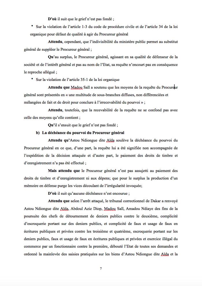Le point sur l'affaire Aïda Ndiongue : voici l'arrêt de la Cour Suprême la condamnant à payer 20,6 milliards de F Cfa à l'Etat (Document)