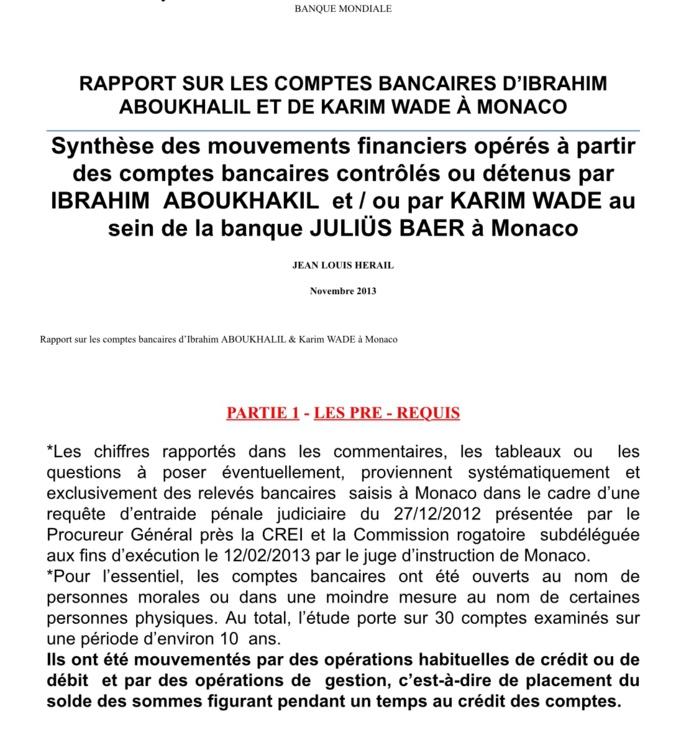 Lumière sur les comptes bancaires de Monaco : La Banque mondiale soupçonne Bibo d'être un « prête-nom » de Karim Wade (Rapport)
