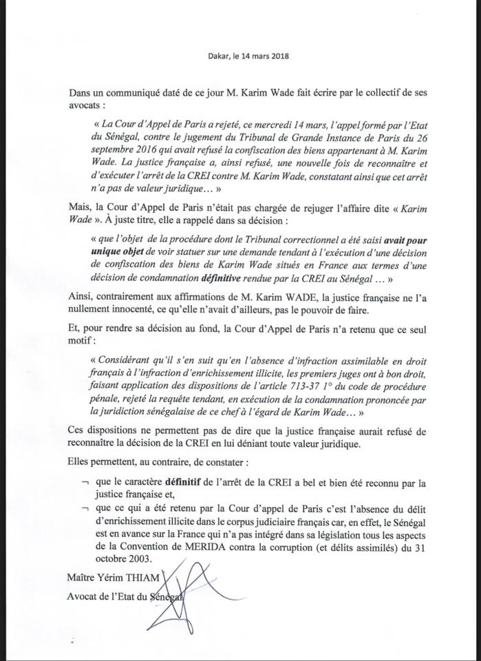 DÉCLARATION DES AVOCATS DE KARIM WADE : Me Yérim Thiam dément et précise (DOCUMENT)