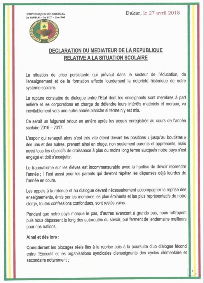 Déclaration du Médiateur de la République Alioune Badara Cissé qui réagit sur la crise scolaire (DOCUMENT)