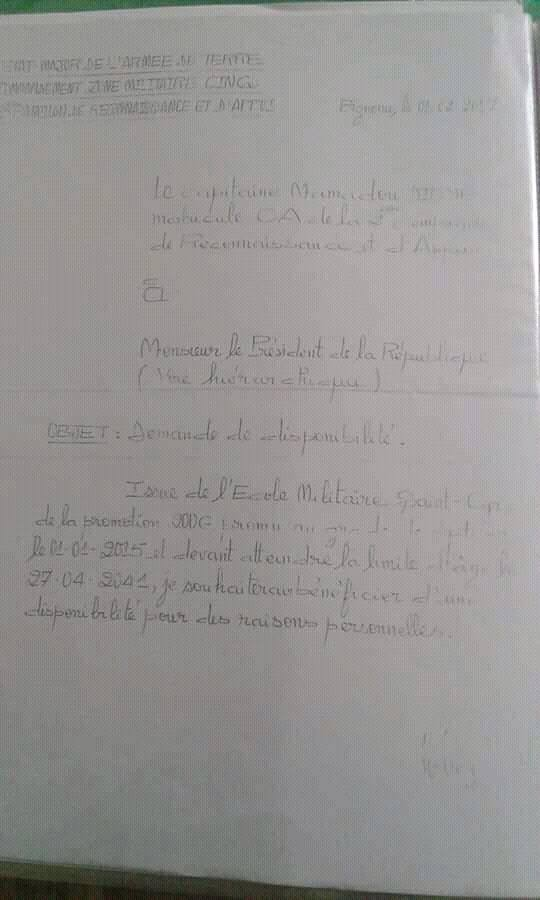 Démission de l'Armée nationale : Les lettres du capitaine Dièye au chef de l'État (DOCUMENTS)