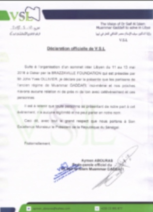Sommet inter-libyen à Dakar : le fils de Kadhafi se démarque