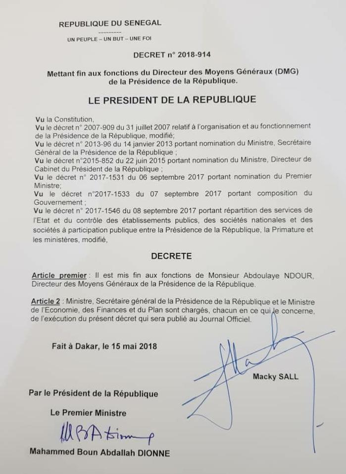 Evincé de son poste de DAGE de la Présidence à la suite de sa sortie : les regrets d'Abdoulaye Ndour
