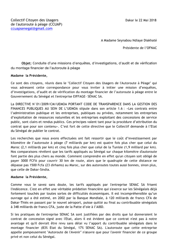 Enquête sur l'Autoroute à péage : Le Collectif citoyen des usagers saisit l'OFNAC (Document)
