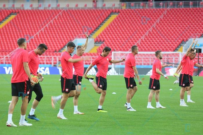 Les images de la conférence de presse de Adam Nawalka et de l'entraînement de l'équipe de la Pologne au stade du Spartak de Moscou