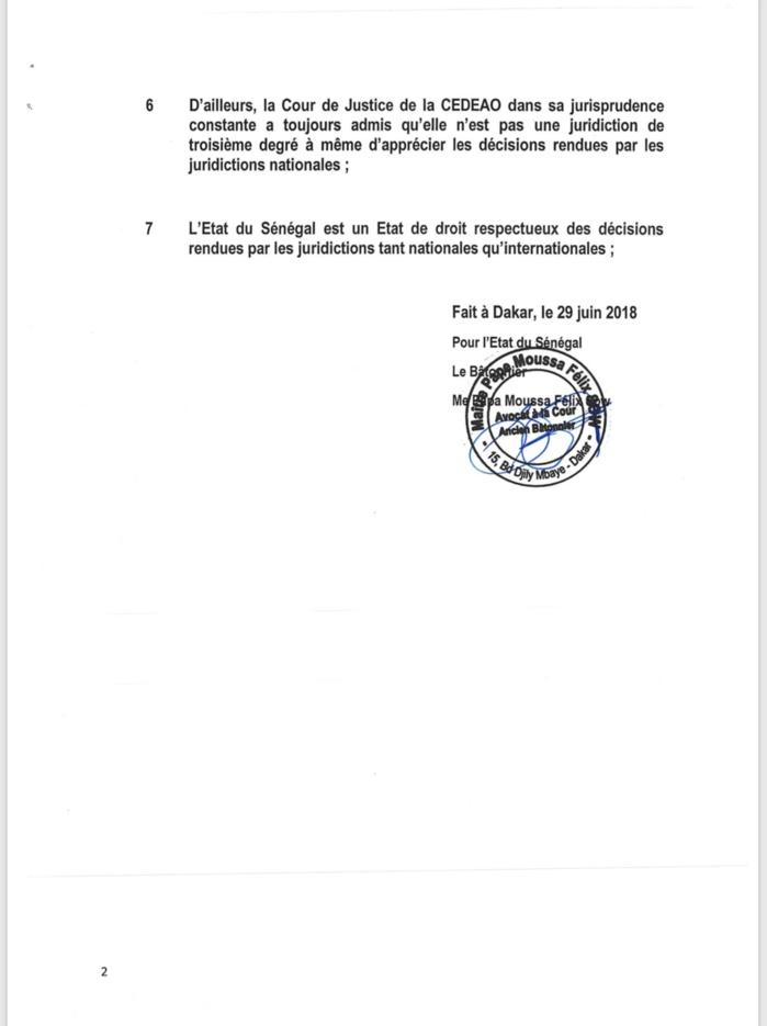 DÉCISION RENDUE PAR LA CEDEAO SUR L'AFFAIRE KHALIFA SALL : Les précisions des avocats de l'Etat du Sénégal (DOCUMENT)