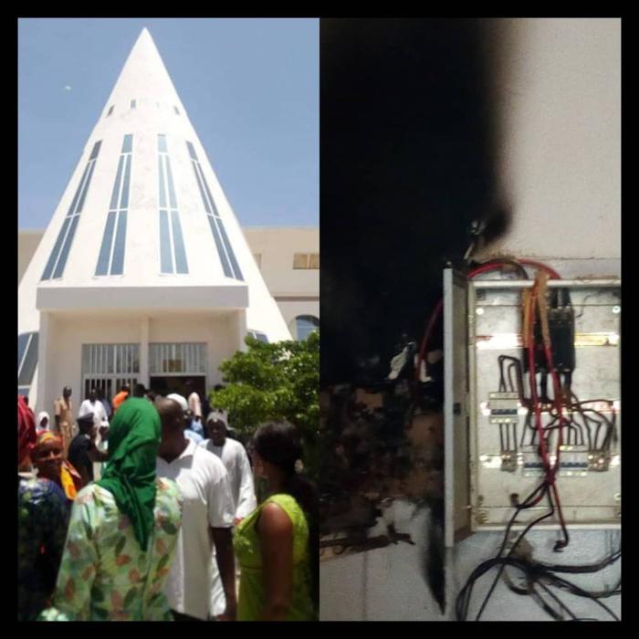 CDD MAGAL DE TOUBA - Un feu jaillit de la boîte électrique centrale de la mairie et interrompt la rencontre