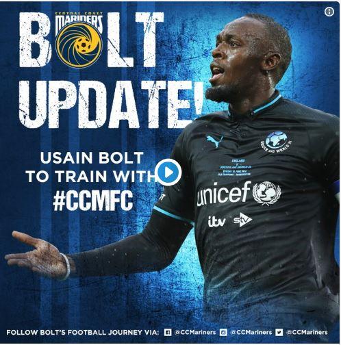Officiel-Football : Usain Bolt signe aux Central Coast Mariners