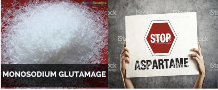 Le glutamate mono sodique (dans les bouillons, chips…), l'aspartame (dans les boissons, yaourts, médicaments…): deux criminels recrutés par le salé et le sucré.