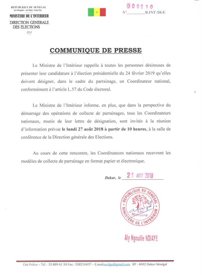 Collecte pour le parrainage : Le ministre de l'Intérieur appelle les candidats à avoir des coordonnateurs nationaux (DOCUMENT)