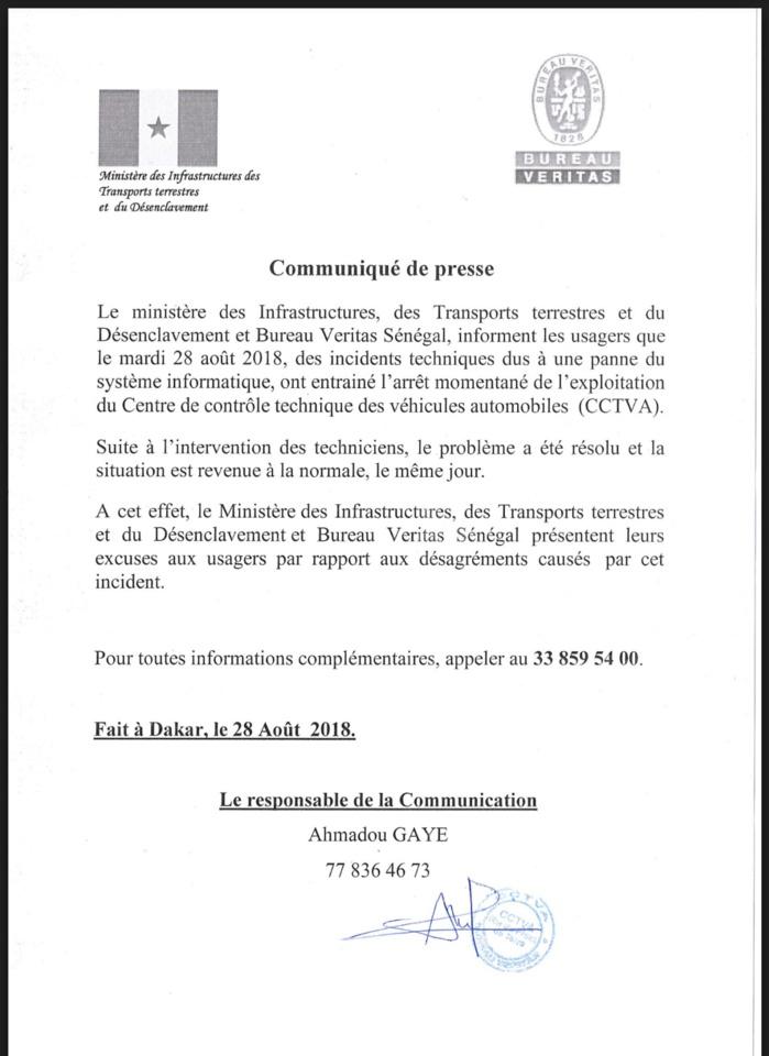 Panne au CCTVA : Le ministère des Infrastructures s'explique et présente ses excuses (DOCUMENT)